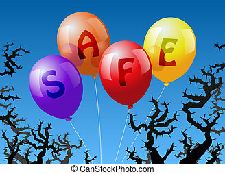 Four balloons, which are labeled with the word SAFE, are threatened by thorns.