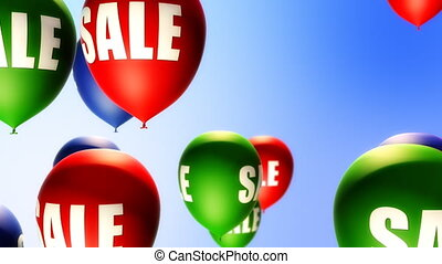 Balloons with Sale text flying up in the air. Seamless loop background. Soft depth of field.