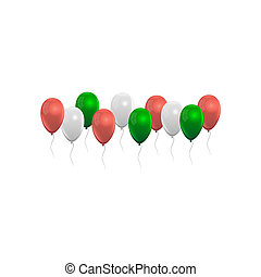 Balloons set in red green and white, grey colors