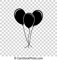 Balloons set sign. Black icon on transparent background.