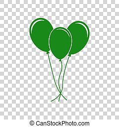Balloons set sign. Dark green icon on transparent background.