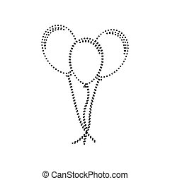 Balloons set sign. Vector. Black dotted icon on white background. Isolated.