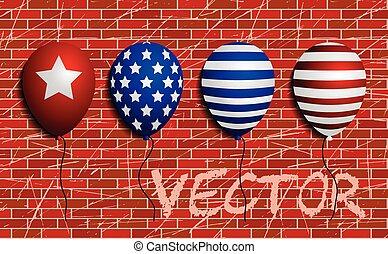 Balloons set sign. Vector. brick wall as background.