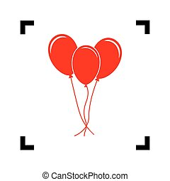 Balloons set sign. Vector. Red icon inside black focus corners on white background. Isolated.