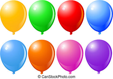 Vector Illustration of Balloons in different colors