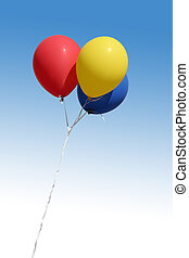 balloons - skyand balloons, red, yellow, blue