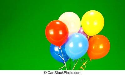 balloons - Flying balloons on green screen