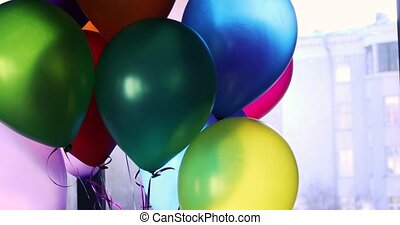 Balloons sway transparent in the interior - Balloons sway...