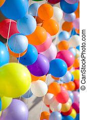 balloons., színpompás, levegő