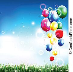 balloons under blue sky
