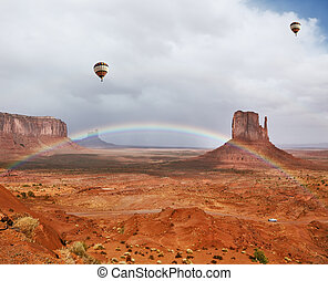 Balloons under storm clouds.