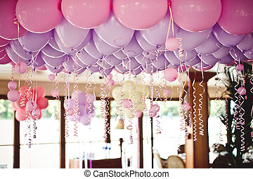 Balloons under the ceiling on wedding party - Pink balloons...