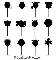 balloons vector set in black