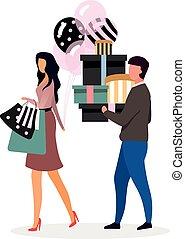 balloons., vendite, signora, moglie, character., assistente, porta, amica, elegante, cartone animato, sorpresa, appartamento, illustration., compleanno, vettore, festa, acquisto, regalo, shopping, presenta., scatole, acquirente, marito