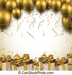 balloons., vieren, achtergrond, gouden