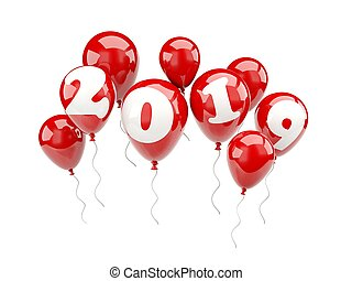 Balloons with 2019 New Year sign isolated on white