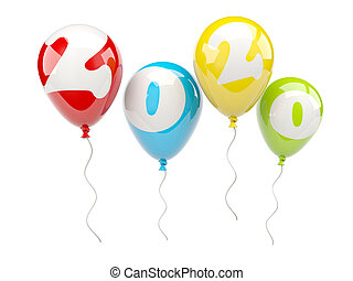 Balloons with 2020 New Year sign isolated on white