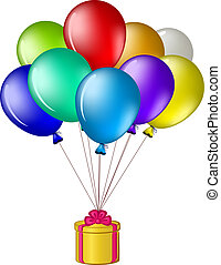 Balloons with a gift box