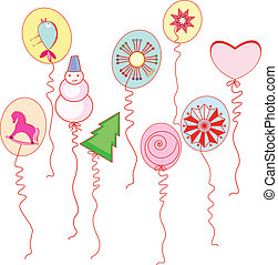 Balloons with drawings of the New Year