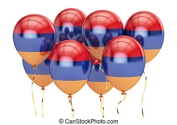 Balloons with flag of Armenia, holiday concept. 3D rendering