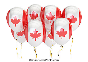 Balloons with flag of Canada, holyday concept. 3D rendering