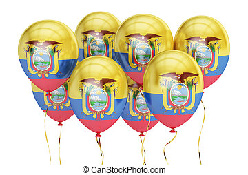 Balloons with flag of Ecuador, holyday concept. 3D rendering