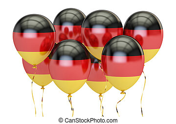 Balloons with flag of Germany, holyday concept. 3D rendering