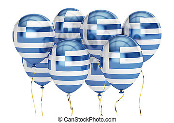 Balloons with flag of Greece, holiday concept. 3D rendering