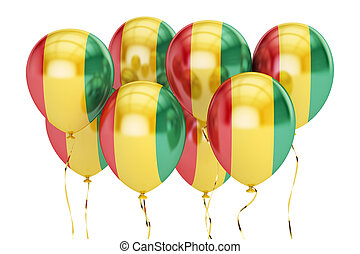 Balloons with flag of Guinea, holiday concept. 3D rendering