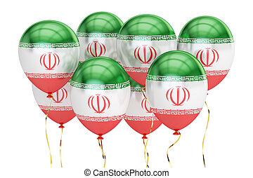 Balloons with flag of Iran, holiday concept. 3D rendering