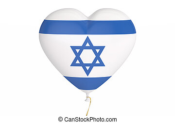 Balloons with flag of Israel, holiday concept. 3D rendering
