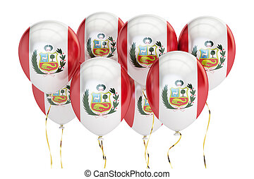 Balloons with flag of Peru, holyday concept. 3D rendering
