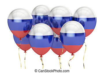 Balloons with flag of Russia, holyday concept. 3D rendering