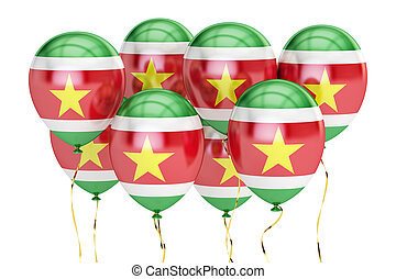 Balloons with flag of Suriname, holiday concept. 3D rendering