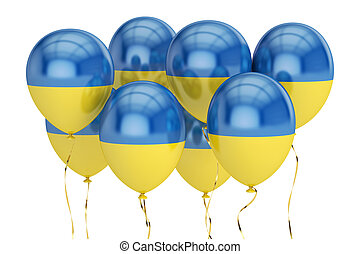 Balloons with flag of Ukraine, holyday concept. 3D rendering