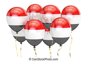 Balloons with flag of Yemen, holiday concept. 3D rendering
