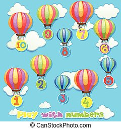 Balloons with numbers in sky