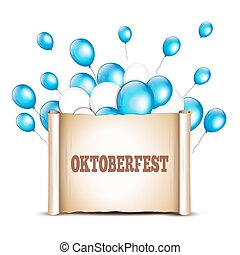 Balloons with paper scroll in traditional colors of Bavaria. Okt
