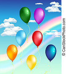 balloons with rainbow