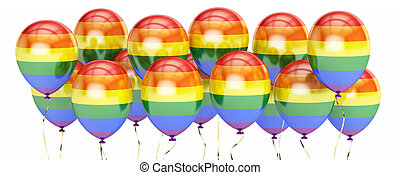 balloons with rainbow gay pride flag, 3D rendering