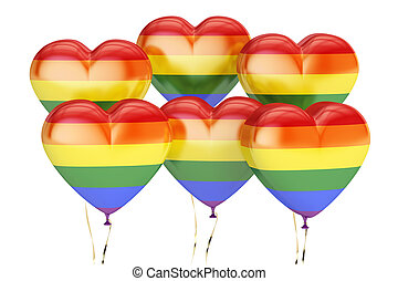 balloons with rainbow gay pride flag in the shape of heart, 3D rendering
