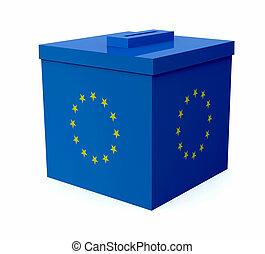 ballot box colored with european flag
