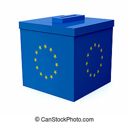 ballot box colored with european flag, 3d illustration