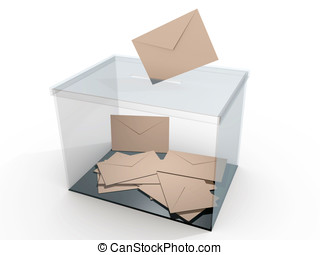 Ballot box with some votes. Democratic elections. Referendum