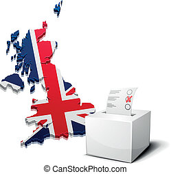 detailed illustration of a ballot box in front of a 3D map of Great Britain, eps10 vector