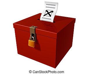 Isolated illustration of a stylized ballot box