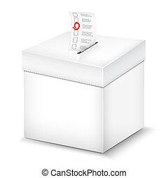 Ballot Box Isolated On White. Vector Illustration.