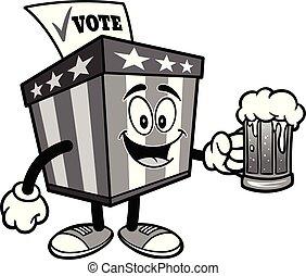 Ballot Box Mascot with a mug of Beer Illustration