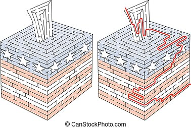 Ballot box maze for kids with a solution