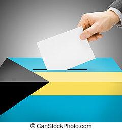 Ballot box painted into national flag - Bahamas
